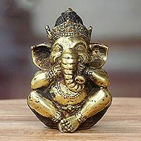 Bronze statuette, 'Ganesha Speaks No Evil' - Antiqued Bronze Statuette of Hinduism Lord Ganesha