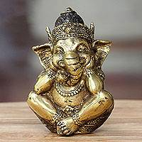 Bronze statuette, 'Ganesha's Golden Silence' - Hindu Art Ganesha Antiqued Bronze Statuette Crafted in Bali
