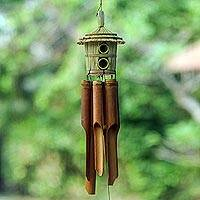 Bamboo wind chimes, 'Lombok Home' - Grass Hut on Bamboo Wind Chimes Crafted by Hand