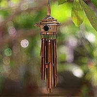 Bamboo wind chimes, 'Bali Jungle Home' - Bamboo Wind Chimes Adorned with a Natural Fiber Hut