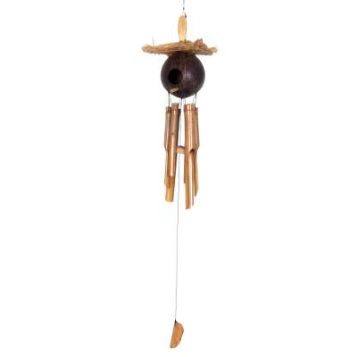 Bamboo and coconut shell wind chimes, 'Padang Jungle Home' - Bamboo Wind Chimes Adorned with a Coconut Shell Hut