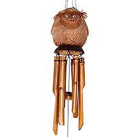Bamboo and coconut shell wind chimes, 'Gorilla Melodies' - Coconut Gorilla on Bamboo Wind Chimes Crafted by Hand