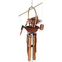 Bamboo wind chimes, 'Crane Family Melodies' - Hand Made Bamboo Chimes with Nest of Birds from Bali