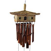 Bamboo wind chimes, 'Surabaya Home' - Hand Made Bamboo Wind Chimes Capped with Natural Fiber Hut