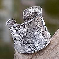 Sterling silver cuff bracelet, 'Tropical Lattice' - Bali Cuff Bracelet Hand Woven of Sterling Silver