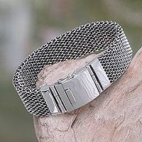 Men's sterling silver wristband bracelet, 'Armor Warrior'