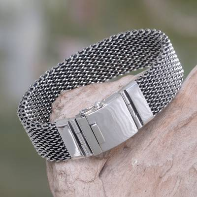 Men's sterling silver wristband bracelet, 'Armor Warrior' - Men's Chain Mail Wristband Bracelet in Sterling Silver