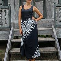 Batik sarong, 'Blossoming Milkyway' - Black and White Hand Stamped Batik Rayon Sarong