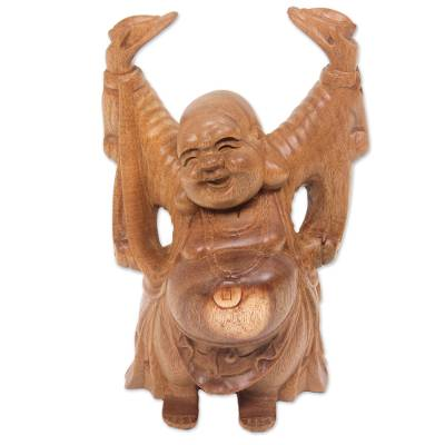 Artisan Crafted Wood Sculpture of Happy Buddha from Bali