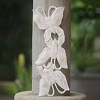 Wood wall panel, 'Butterfly Beginnings' - Three Butterflies in White Washed Wood Wall Panel from Bali
