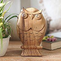 Wood wall sculpture, 'Owl Philosophy'
