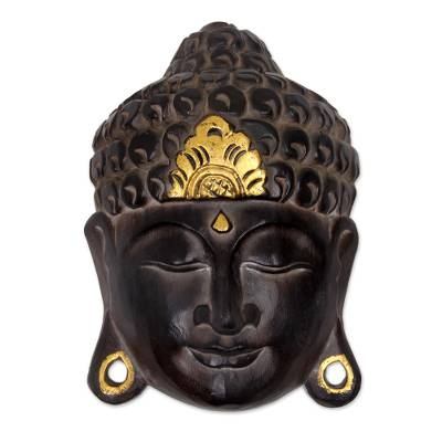 Artisan Crafted Wood Wall Sculpture of Buddha from Bali