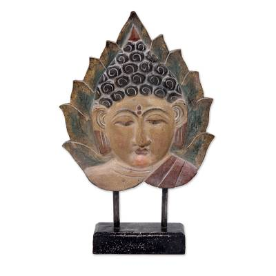 Hand Carved Buddha in Pipal Leaf Wood Sculpture with Stand