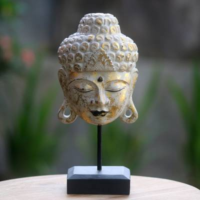 Wood sculpture, 'Buddha's Golden Peace' - Buddhism Hand-carved Wood Bust Sculpture with Stand