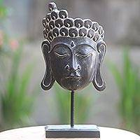 Wood sculpture, 'Inspiring Buddha' - Black Wood Buddha Mask Sculpture on Stand Carved by Hand
