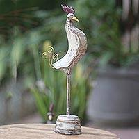 Wood sculpture, 'White Rooster' - Wood Rooster Hand Carved Sculpture with Stand