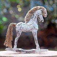 Wood sculpture, 'Proud Mare' - White Wood Balinese Horse Sculpture with Jute Mane and Tail