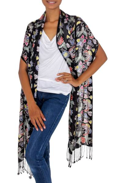 Silk batik shawl, 'Night in the Garden' - Balinese Black Silk Hand Stamped Floral Batik Shawl