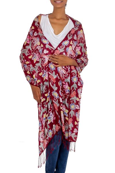 Batik silk shawl, 'Wine in the Garden' - Burgundy Silk Hand Stamped Floral Batik Shawl from Bali