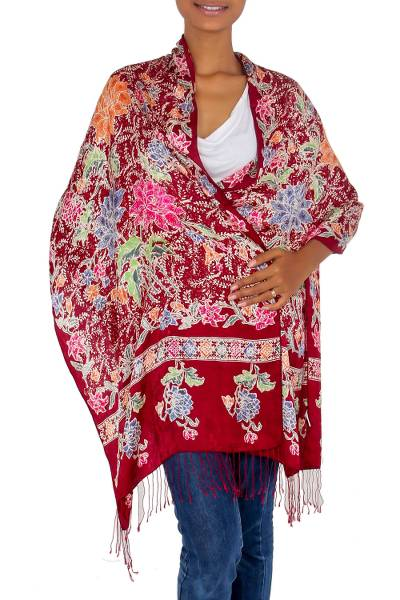 Silk batik shawl, 'Blossoming Opulence' - Multicolored Batik Flowers Hand Stamped on a Silk Shawl