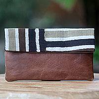 Leather accent cotton clutch handbag, 'Brown Java Tiger'