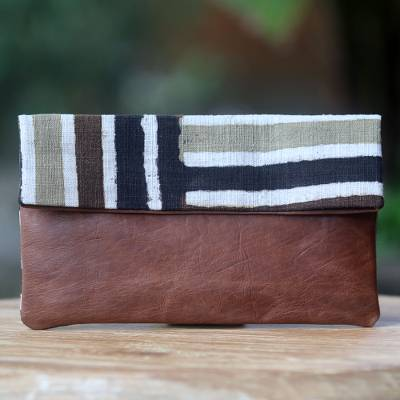 Leather accent cotton clutch handbag, 'Brown Java Tiger' - Handwoven Cotton Hand Painted Clutch with Brown Leather