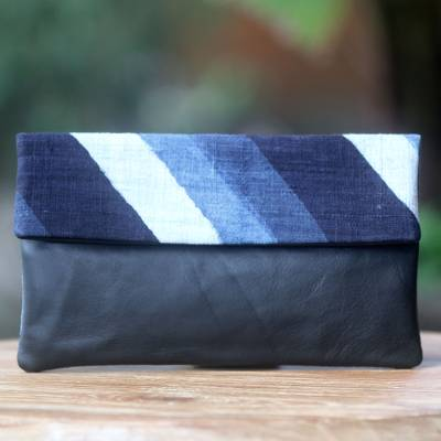 Leather and cotton clutch handbag, 'Blue Night Beach' - Navy Blue Leather Clutch Handbag of Handwoven Cotton