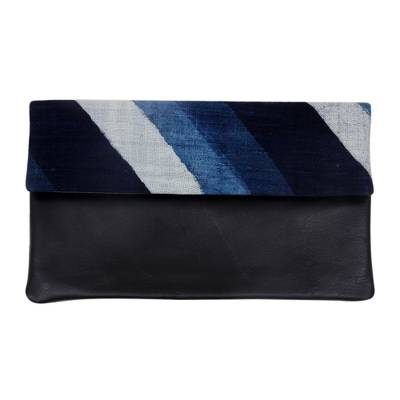 Leather and cotton clutch handbag, 'Blue Night Beach' - Fair Trade 100%Cotton Handwoven Leather Trimmed Clutch by Ba