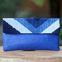 Leather and cotton clutch handbag, 'Blue Bali Tides' - Handwoven Cotton Clutch Handbag with Blue Leather