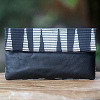 Leather and cotton clutch handbag, 'Black Desert' - Hand Painted Cotton Clutch with Black Leather