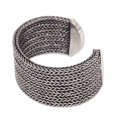 Sterling silver cuff bracelet, 'Horseshoe Braids' - Wide Textured Sterling Silver Cuff Bracelet from Bali