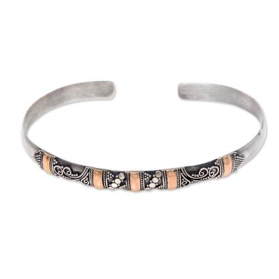 Gold Accent Balinese Handcrafted Silver Cuff Bracelet