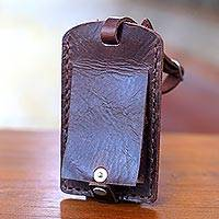 Leather luggage tag, 'Dark Brown Sumatra Secrets' - Dark Brown Leather Luggage Tag Handmade in Bali
