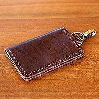Leather key ring wallet, 'Dark Brown Sumatra Secrets' - Brown Leather Wallet and Key Ring Holder Handmade in Bali