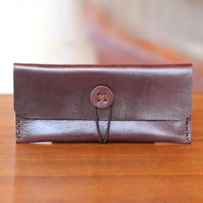 Leather wallet, 'Dark Batavia Brown' - Dark Brown Leather Wallet Crafted by Hand in Java