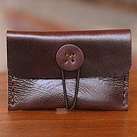 Leather business card holder, 'Dark Batavia Brown' - Leather Business Card Case Crafted by Hand in Java