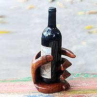Wood wine bottle holder, 'Hold Me' - Balinese Signed Hand Carved Wood Wine Bottle Holder