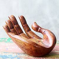 Wood hand sculpture, 'Praise and Gratitude' - Signed Handcarved Wood Hand Sculpture from Bali