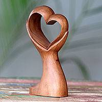Wood sculpture, 'Hold My Heart' - Signed Romantic Hand Carved Balinese Wood Heart Sculpture