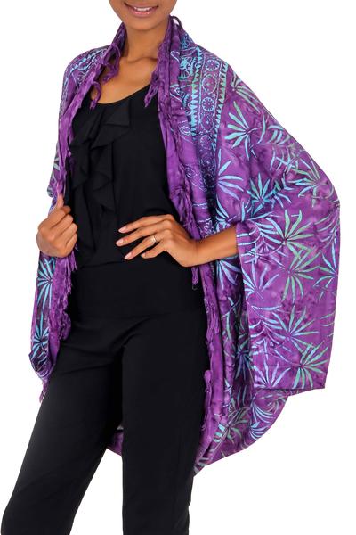 Rayon jacket, 'Denpasar Lady in Purple' - Purple Rayon Batik Shawl Jacket Versatile Accessory
