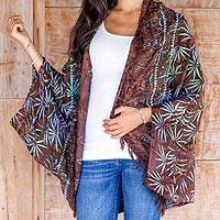 Rayon jacket, 'Denpasar Lady in Brown' - Brown Rayon Batik Open Front Jacket Handmade in Bali