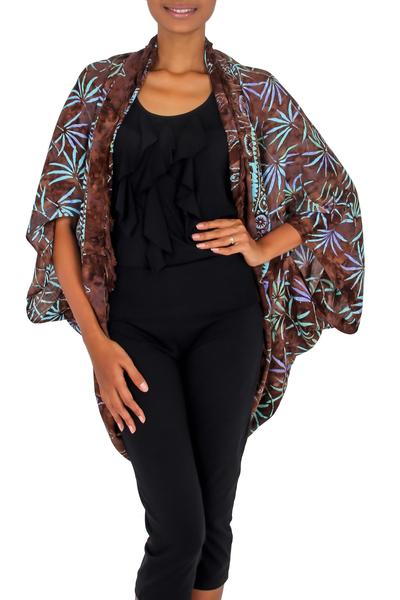 Rayon jacket, 'Denpasar Lady in Brown' - Brown Rayon Batik Open Front Jacket Handmade in Bali