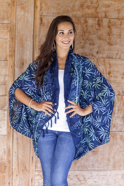 Rayon jacket, 'Denpasar Lady in Navy' - Navy Blue Print Rayon Batik Open Front Jacket for Women