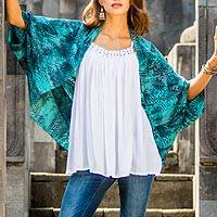 Rayon short kimono jacket, 'Ancient Glyphs' - Women's Woven Rayon Shrug Jacket with Batik Print
