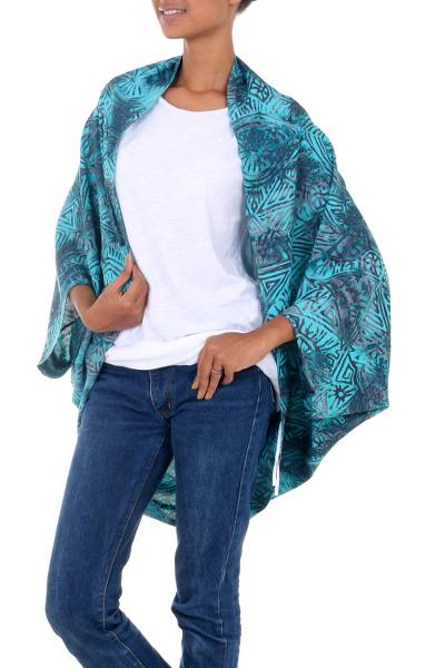 Rayon short kimono jacket, 'Ancient Glyphs' - Women's Woven Rayon Kimono Jacket with Batik Print