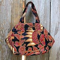 Beaded cotton batik handbag, 'Black Peacock'