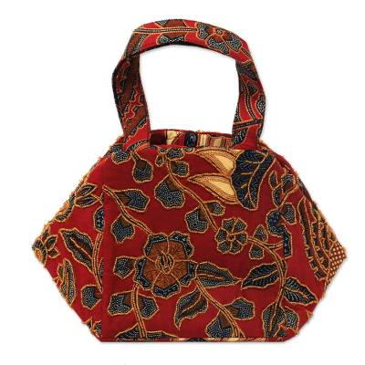 Beaded cotton batik handbag, 'Red Peacock' - Beaded Red Handbag with Hand Stamped Batik from Bali