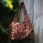 Beaded Batik Black and Burgundy Cotton Shoulder Bag, 'Black Sawunggaling'