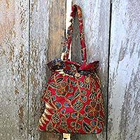 Beaded cotton batik shoulder bag, 'Javanese Redbird'