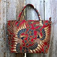 Beaded cotton batik shoulder bag, 'Sawunggaling Dance'